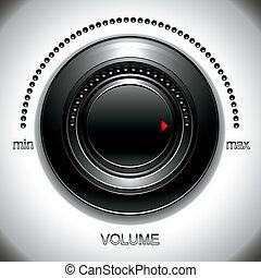 Big black volume knob with calibration vector illustration.