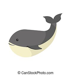 Big black whale with white stomach isolated illustration