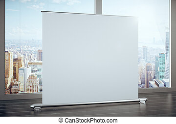 Big blank advertising banner in a room with large windows,...
