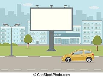 Big blank billboard on city background.
