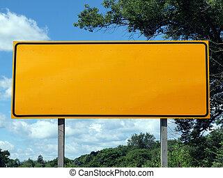 Big Blank Highway Sign - Big blank highway sign with blue...