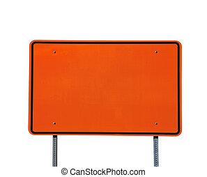 Big Blank Orange Highway Sign