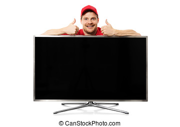 big blank tv and smiling man with thumbs up isolated on white background