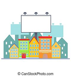 Big blank urban billboard over small city town street buildings. Cartoon Billboard advertisement commercial blank.