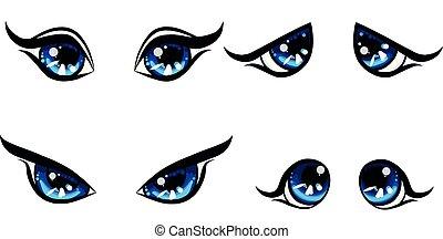 big blu girl character eyes, emotion on face, happy and angry und upset, sad women eyes, cartoon set manga eyes