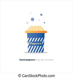 Big blue box with popcorn