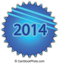 """Big blue button labeled """"2014"""""""