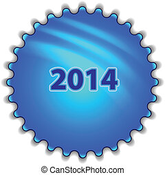 "Big blue button labeled ""2014"""