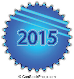 """Big blue button labeled """"2015"""""""