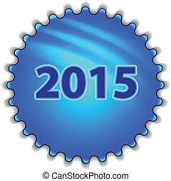 "Big blue button labeled ""2015"""