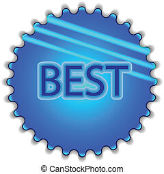 """Big blue button labeled """"BEST"""""""