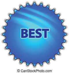 "Big blue button labeled ""BEST"""