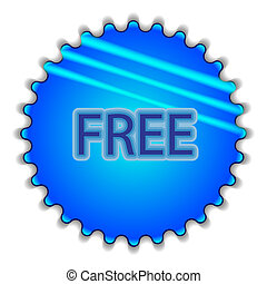 """Big blue button labeled """"Free"""""""