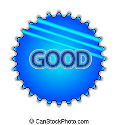 """Big blue button labeled """"good"""""""