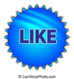 """Big blue button labeled """"LIKE"""""""