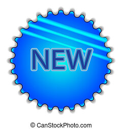 """Big blue button labeled """"NEW"""""""