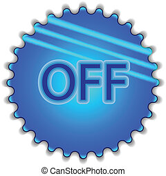 """Big blue button labeled """"OFF"""""""