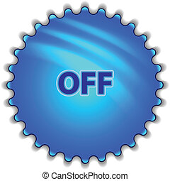 "Big blue button labeled ""OFF"""
