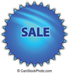 "Big blue button labeled ""SALE"""