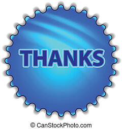 "Big blue button labeled ""THANKS"""