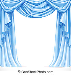 Big blue curtain draped with pelmet  isolated on a white background