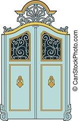 Big blue door - Ancient architectural element, EPS 10 file