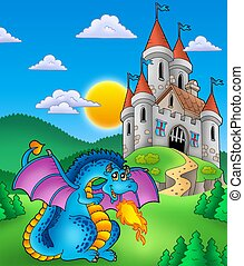 Big blue dragon with medieval castle - color illustration.