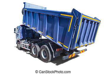 big blue dump truck isolated
