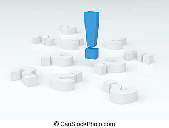 Big blue exclamation mark over lying white question marks (3D re