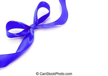 Big blue holiday bow on white background