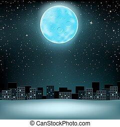 big blue moon over city
