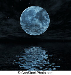 Big blue moon reflected in water surface
