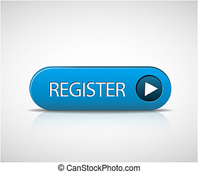 Big blue register button with shadow and reflections
