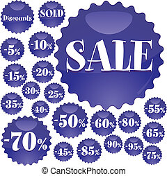 Big blue Sale stickers, vector illustration