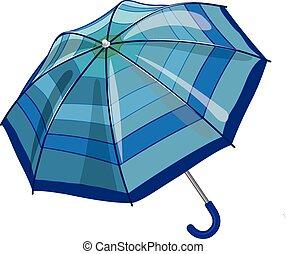 Big blue sun parasol umbrella against rain