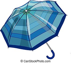 Big blue sun parasol umbrella against rain