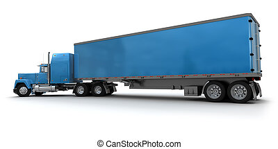 Big blue trailer truck - Lateral view of a big blue trailer...