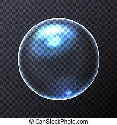 Big Blue Transparent Soap Bubble. Vector