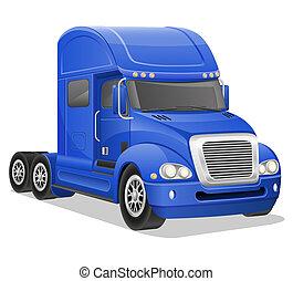 big blue truck illustration isolated on white background
