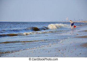 Big blue waves in Zandvoort (Northen Sea in Holland)