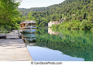 Big boat at dock in National Park Krka