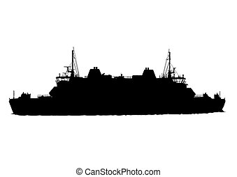 Big boat - Silhouette of big ship on white background