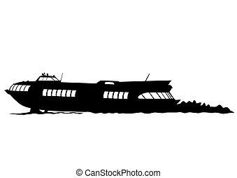 Big boat on white background