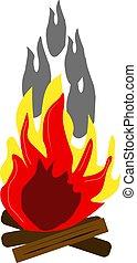 Big bonfire, illustration, vector on white background.