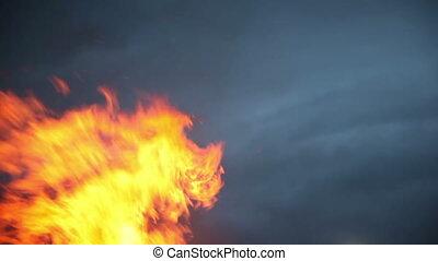 Big bonfire on Shrove Tuesday. Russian holiday Maslenitsa
