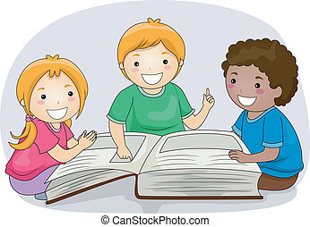 Big Book - Illustration of Kids Reading Passages from a...