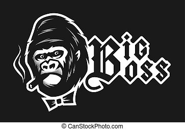 Big boss. Angry gorilla with a cigar on a dark background. Vector illustration.