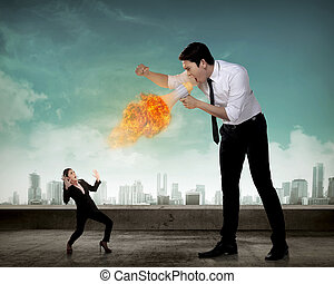 Big boss yelling to her employee with megaphone on fire
