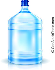 Big Bottle of Water for cooler isolated on white. Vector Illustration. EPS10 opacity