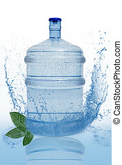 big bottle with clean blue water drink and green foliage
